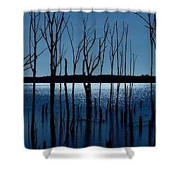 Blue Reservoir - Manasquan Reservoir Shower Curtain by Angie Tirado