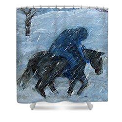 Blue Rider On Horse Shower Curtain