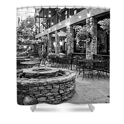Blue Ridge Courtyard In Black And White Shower Curtain