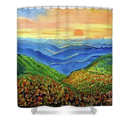 Blue Ridge Mountain Morn Shower Curtain by Ecinja Art Works