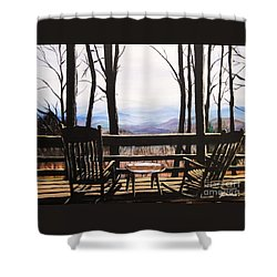 Shower Curtain featuring the painting Blue Ridge Mountain Porch View by Patricia L Davidson