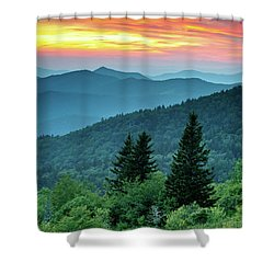 Blue Ridge Parkway Nc Landscape - Fire In The Mountains Shower Curtain