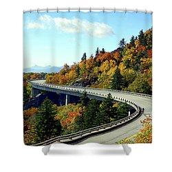 Shower Curtain featuring the photograph Blue Ridge Parkway Viaduct by Meta Gatschenberger