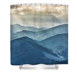 Blue Ridge Sunset Rays Shower Curtain
