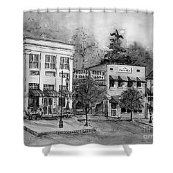 Shower Curtain featuring the painting Blue Ridge Town In Bw by Gretchen Allen