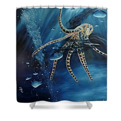 Blue Ring Octopus Shower Curtain