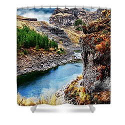 Blue River In Mountains Shower Curtain