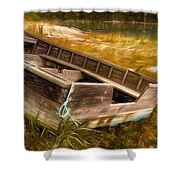 Blue Rope, Barter's Island, Maine Shower Curtain by Dave Higgins