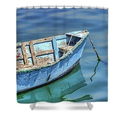 Blue Rowboat At Port San Luis 2 Shower Curtain
