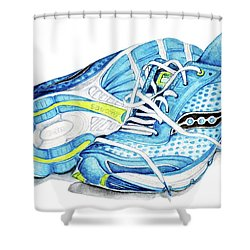 Blue Running Shoes Shower Curtain