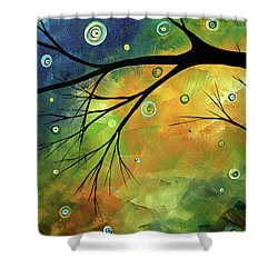 Blue Sapphire 2 By Madart Shower Curtain by Megan Duncanson