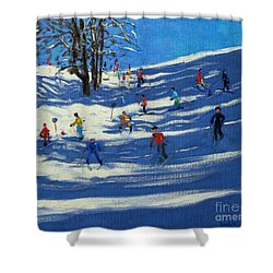 Blue Shadows Shower Curtain by Andrew Macara