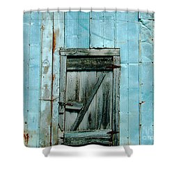 Blue Shed Door  Hwy 61 Mississippi Shower Curtain