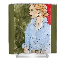 Blue Shirt Shower Curtain by P J Lewis