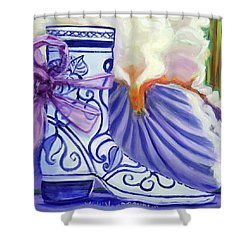 Blue Shoe, Painting Of A Painting Shower Curtain