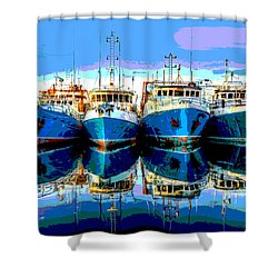 Blue Shrimp Boats Shower Curtain by Charles Shoup