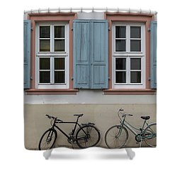 Blue Shutters And Bicycles Shower Curtain