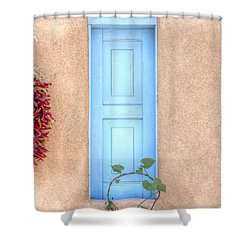 Blue Shutters And Chili Peppers Shower Curtain