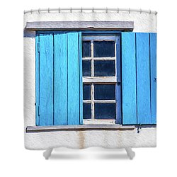 Blue Shutters Of Peniche Shower Curtain