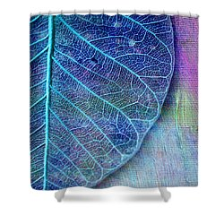 Blue Skeletal Leaf Shower Curtain