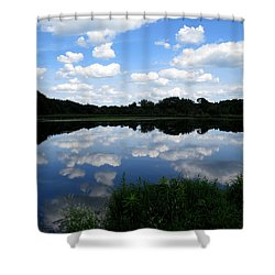 Shower Curtain featuring the photograph Blue Skies At Cadiz Springs by Kimberly Mackowski