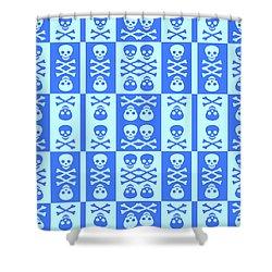 Blue Skull And Crossbones Pattern Shower Curtain
