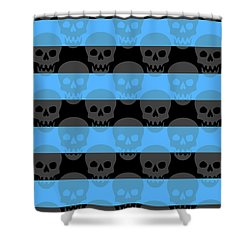 Blue Skull Stripes Shower Curtain