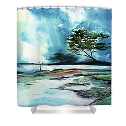 Shower Curtain featuring the painting Blue Sky by Anil Nene