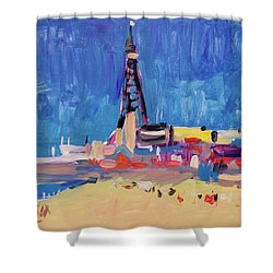 Blue Sky Blackpool Shower Curtain by Nop Briex