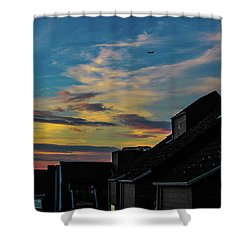 Blue Sky Colorful Sunset Shower Curtain by Cesar Vieira