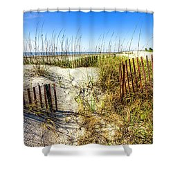 Shower Curtain featuring the photograph Blue Sky Dunes by Debra and Dave Vanderlaan
