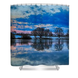 Blue Sky Morning Shower Curtain by Lynn Hopwood