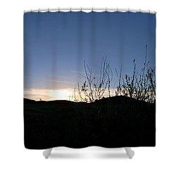Blue Sky Silhouette Landscape Shower Curtain