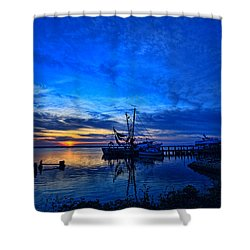 Blue Sky Sunset Shower Curtain