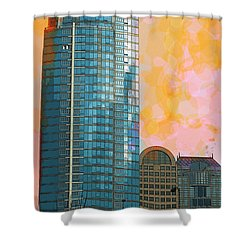 Shower Curtain featuring the photograph Blue Skyscraper Seattle by Yulia Kazansky