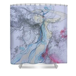 Shower Curtain featuring the drawing Blue Smoke And Mirrors by Marat Essex