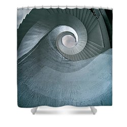 Shower Curtain featuring the photograph Blue Spiral Stairs by Jaroslaw Blaminsky