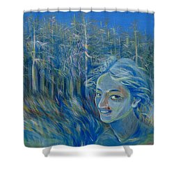 Shower Curtain featuring the painting Blue Spring by Anna  Duyunova
