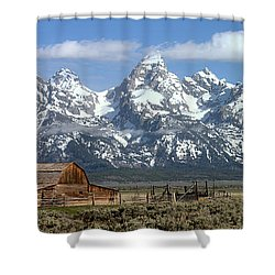 Blue Spring Skies Over Mormon Row Shower Curtain by Adam Jewell