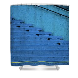 Blue Stairs Yellow Line San Francisco Shower Curtain