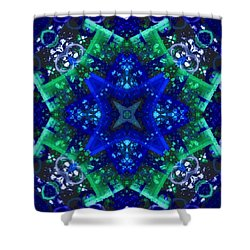 Blue Star Mandala Shower Curtain