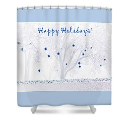 Blue Star Tree Shower Curtain by Ellen O'Reilly