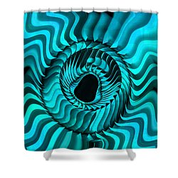 Shower Curtain featuring the digital art Blue Starburst by Kevin Caudill