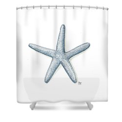 Blue Starfish Shower Curtain by Stephanie Troxell