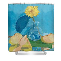 Shower Curtain featuring the painting Blue Still Life Apple Flower by Patricia Cleasby