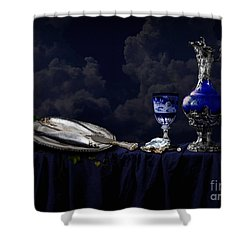 Still Life In Blue Shower Curtain