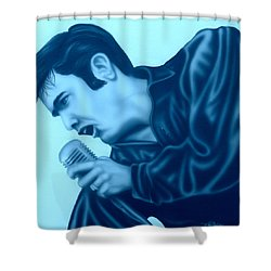 Shower Curtain featuring the painting Blue Suede Shoes by Darren Robinson