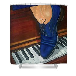 Shower Curtain featuring the painting Blue Suede Shoes by Marlyn Boyd