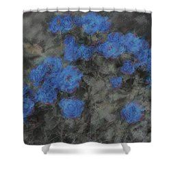 Blue Summer Roses Shower Curtain