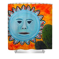 Blue Sun Abstract 3 Shower Curtain by M Diane Bonaparte